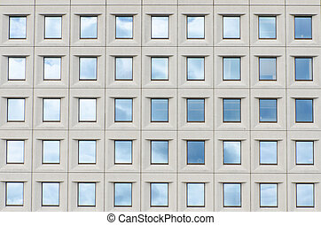 bâtiment, fenetres, nuages, reflet