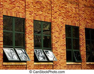 bâtiment, fenetres, refléter, ciel, bureau