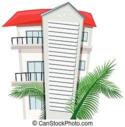 bâtiment, feuilles, appartement, paume