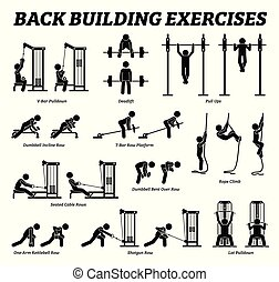 bâtiment, figure, dos, pictograms., crosse, exercices, muscle