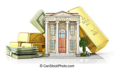 bâtiment, finance, or, argent, concept., illustration, white., banque, 3d