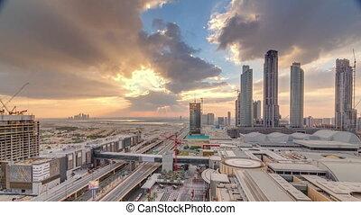 bâtiment, financier, centre, timelapse, matin, construction, levers de soleil, sous, aérien, route, vue