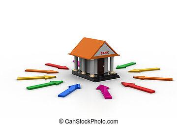bâtiment, fonction, différent, par, flèches, banque