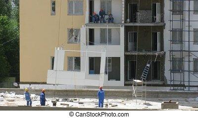 bâtiment, fonctionnement, moyens, maison, ascenseur, crane., plaques