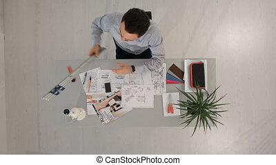 bâtiment, fonctionnement, sommet, ruler., projet architecte, vue