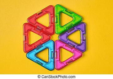 bâtiment, fond, jaune, coloré, magnétique, sommet, blocs, vue