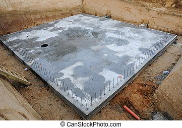 bâtiment, fondation, nouveau, plaque