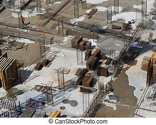 bâtiment, fondation, site
