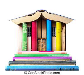 bâtiment, formulaire, compiled, books., bibliothèque, pile, arrière-plan., livres, blanc, education, concept.