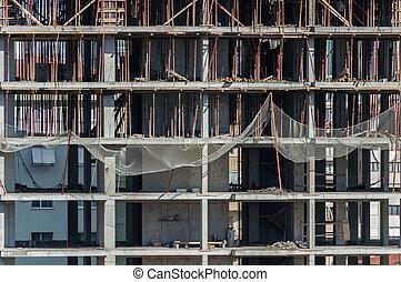 bâtiment, frontal, site, construction, vue
