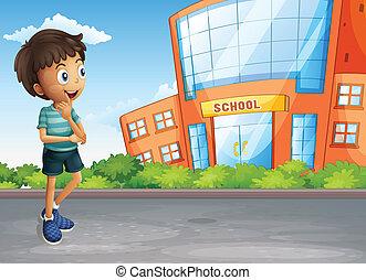 bâtiment, garçon, école, jeune, rue, travers