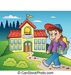 bâtiment, garçon, école, thème