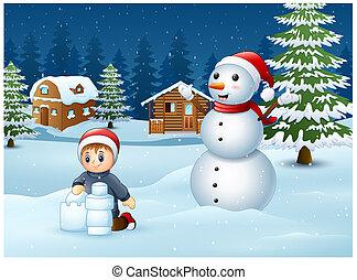 bâtiment, garçon, dessin animé, confection, neige