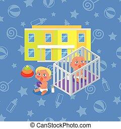 bâtiment, garçon, girl, isolated., jardin enfants