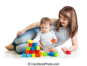 bâtiment, garçon, jeu, sien, blocs, maman, bébé