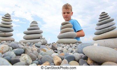 bâtiment, garçon, pierre, ciel, cailloux, fond, pile