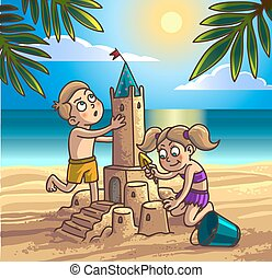 bâtiment, garçon, sandcastle, girl