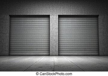 bâtiment, garage, fait, béton