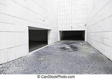 bâtiment, garage, moderne, portes