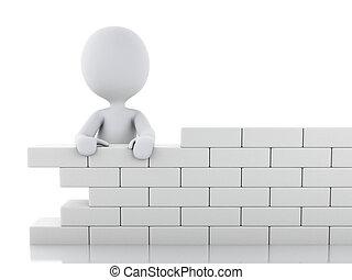 bâtiment, gens, wall., brique blanche, 3d