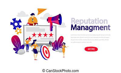 bâtiment, gestion, relation, gens, concept., réputation