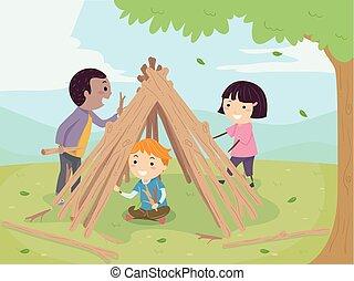 bâtiment, gosses, stickman, illustration, hutte, crosse