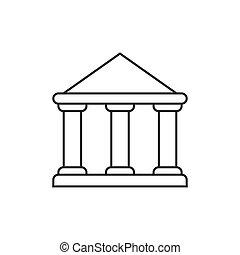 bâtiment, gouvernement, contour, icône