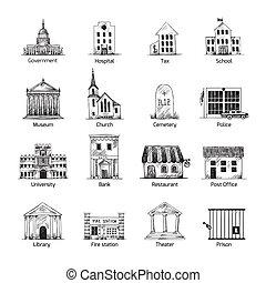 bâtiment, gouvernement, ensemble, icônes