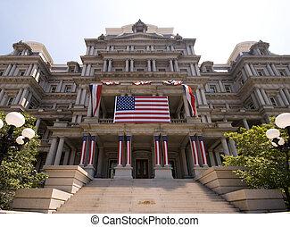 bâtiment gouvernement, washington, décoré, 4 juillet