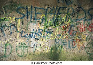 bâtiment, graffiti, côté