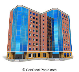 bâtiment, grand, affaires modernes