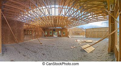bâtiment, grand-angulaire, construction, sous, intérieur