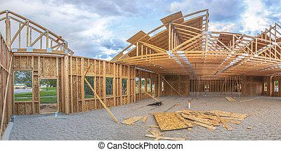 bâtiment, grand-angulaire, construction, sous, pano