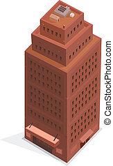 bâtiment, grand, isométrique, business