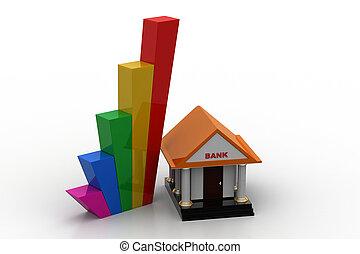 bâtiment, graphique, croissance, banque