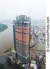 bâtiment, gratte-ciel, saigon, rivière