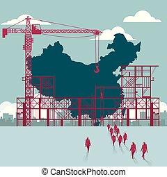 bâtiment, groupe, china's, marché, site., hommes affaires, sous, territoire, construction.