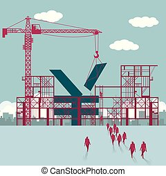 bâtiment, groupe, chinois, marché, site., hommes affaires, sous, yuan, construction.