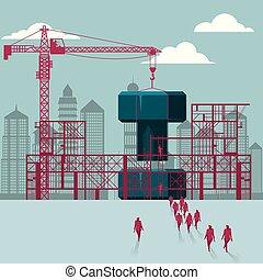 bâtiment, groupe, marché, site., boulon, sous, construction., hommes affaires