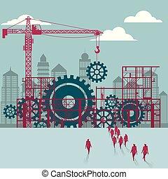 bâtiment, groupe, sous, marché, site., engrenages, mécanique, construction., hommes affaires