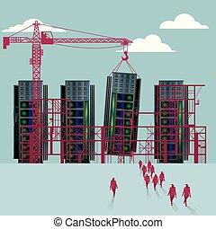 bâtiment, groupe, superordinateur, marché, site., hommes affaires, sous, construction.