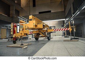 bâtiment, grue mobile, industriel, jaune