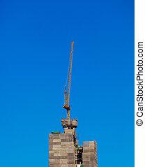 bâtiment, grues, haut-ascension, site, sous, construction.