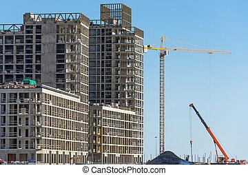bâtiment, grues, propriété, résidentiel, construction, vrai