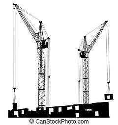 bâtiment, grues, silhouette, deux, fonctionnement