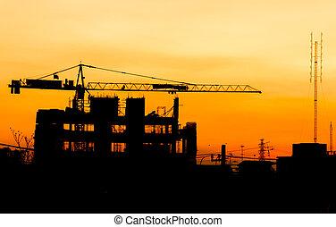 bâtiment, grues, silhouettes, construction, industriel