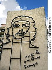 bâtiment, guevara, che, image, cuba., célèbre