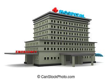 bâtiment, hôpital, fond blanc, 3d
