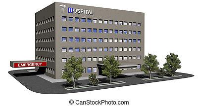 bâtiment, hôpital, fond blanc
