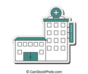 bâtiment, hôpital, icône